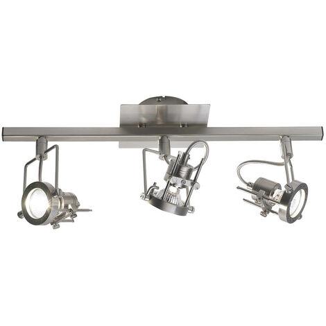 Barra de foco Bauhaus en cromo satinado y 3 bombillas