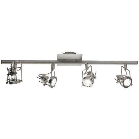 Barra de foco Bauhaus en cromo satinado y 4 bombillas