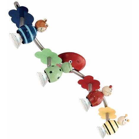 Barra de foco de luz de techo LED ajustable iluminación de sala de juegos para niños motivo animal Eglo 93143