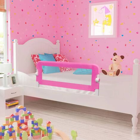 Barra de seguridad para cama de niño 2 unidades rosa 102x42 cm - Rosa