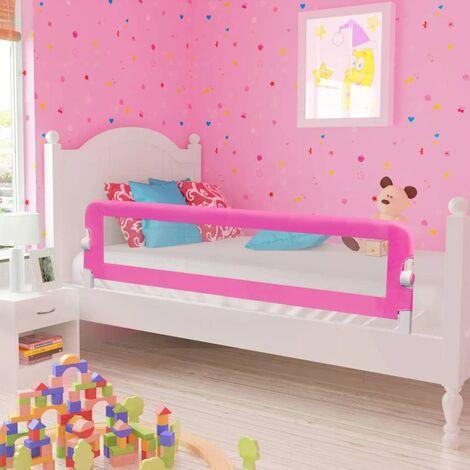 Barra de seguridad para cama de niño 2 unidades rosa 150x42 cm - Rosa