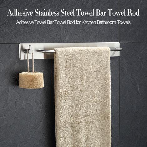 Barra de toalla toalla de barra con el gancho gancho adhesivo de rieles para rack de acero inoxidable para la cocina Toallas de bano
