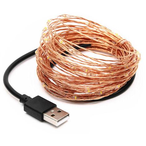 Barra ligera llevada alambre de cobre linterna de bateria USB 5V Navidad Decoracion Fete de Lumiere Tarifa 20 Metros 200 Luces, Azul