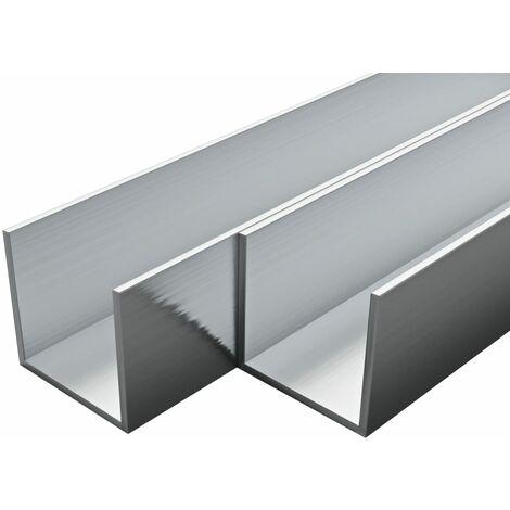 Barras de canal de aluminio perfil en U 1 m 4 uds 25x25x2mm