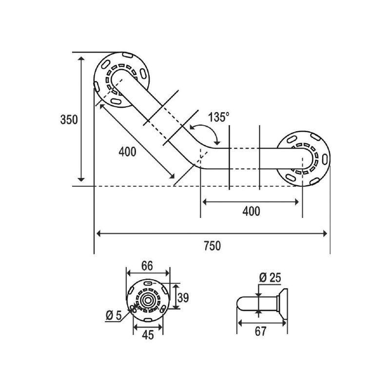 Pellet ASC 400 x 400 mm laiton nickel/é chrom/é /Ø 25 mm Barre dappui coud/ée /à 135/°