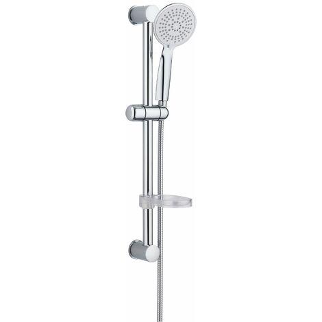 Barre de douche avec douche 5 jets et porte-savon Damst 12529   Chromé