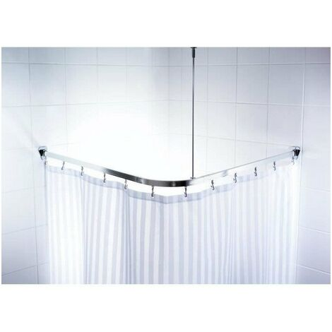 Barre de douche d'angle coulissantes + crochets - 90 x 90 x 90cm - Aluminium Poli