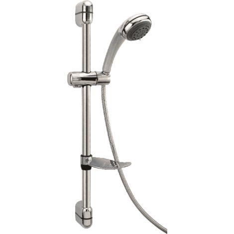 Barre de douche en laiton chromé avec douchette 3 fonctions et tuyau flexible   Chromè