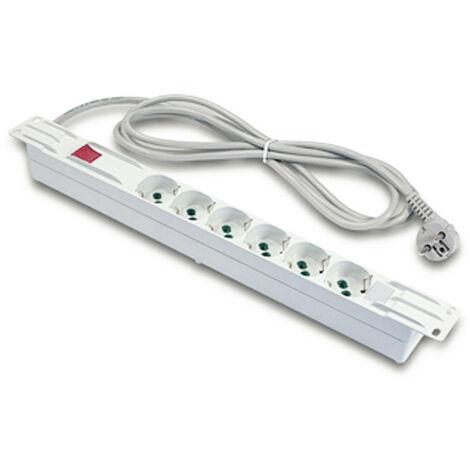 Barre de puissance en Rack Fanton, horizontal, 6 prises et interrupteur 23201