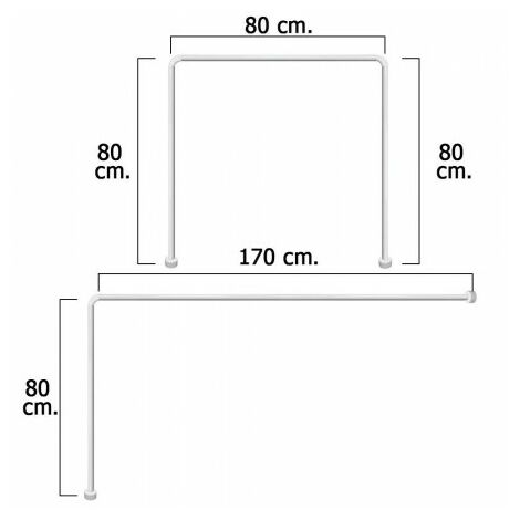 "main image of ""Barre de rideau douche universal aluminium blanc 80 x 170 cm."""