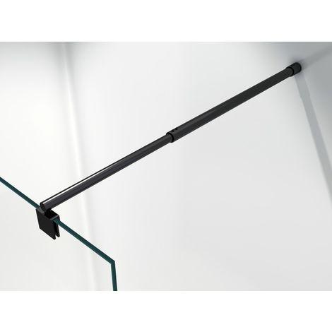 Barre de stabilisation noire - barre de fixation ronde en noir - pour paroi de douche