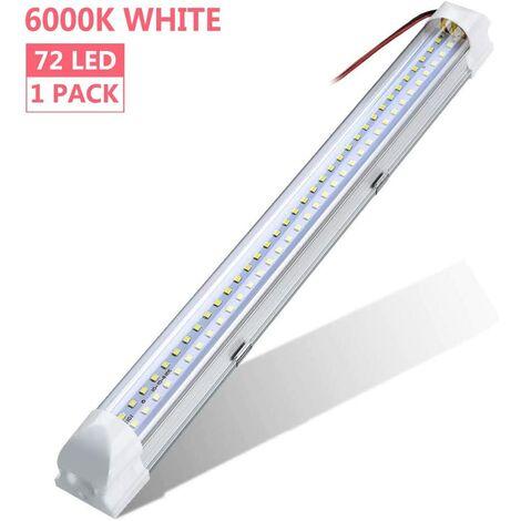 Barre lumineuse LED,DC 12-80V lampe voiture intérieur 72 LEDs Lampe de Placard lampe/universel d'éclairage 500LM Pour Cabinet/Voiture,Camion,Véhicule,Camping Car,Bateau,Plafonnier (1PC)