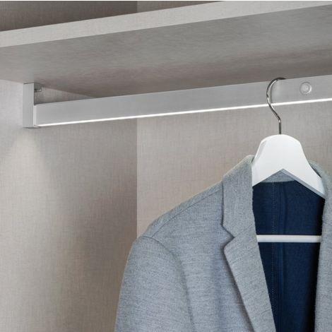 Barre Penderie avec éclairage LED de 70 cm en aluminium anodisé mat | Anodisé mat