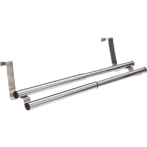 Barre porte-serviettes étirable support serviettes inox à suspendre porte, 2 bras, 40 cm large, argenté