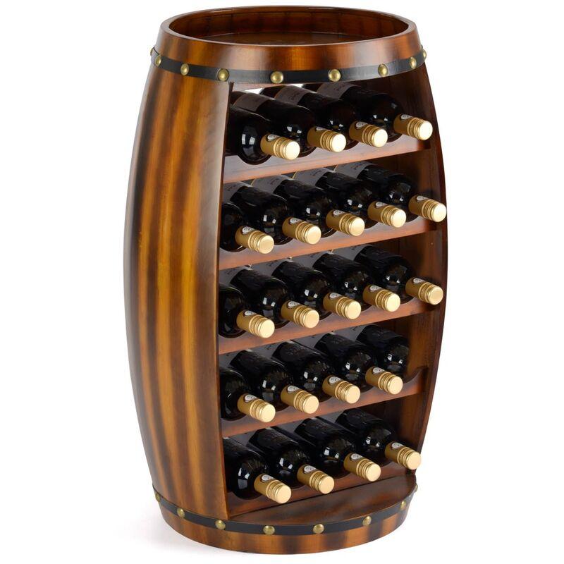 Image of 23 Bottle Wooden Barrel Wine Rack - CHRISTOW