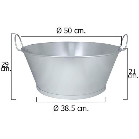 Barreño galvanizado baño 20 50x21 cm. 30 litros