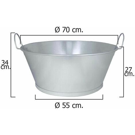 """Barreño Galvanizado Baño 28"""" 70x27 cm. 62 Litros"""