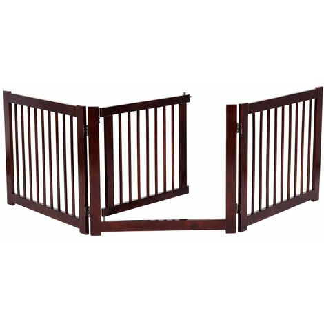 Barrera de Puerta de Seguridad para Perros Mascotas Puerta Escalera Protección Plegable de Madera (206 x 61 x 1,8cm)