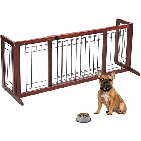 Barrera de Seguridad Extensible de Madera para Puerta Escalera Valla Protección para Bebé Perro Mascotas
