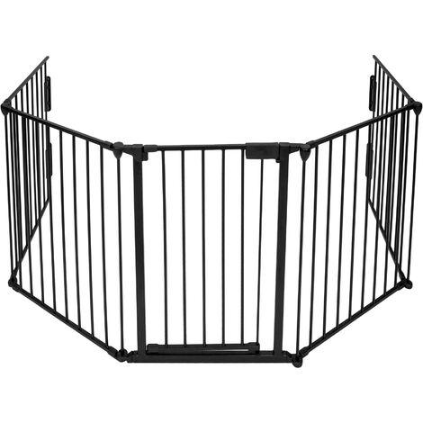 Barrera de seguridad infantil de metal 300cm - valla de seguridad para niños, puerta de seguridad para bebés de cinco piezas, barrera de metal para escaleras - negro