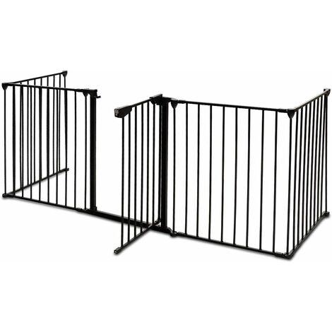 Barrera de Seguridad Niño Infantil Protección Chimenea Rejilla para Mascota Metal Plegable Puerta Escalera