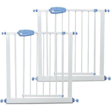 Barrera de Seguridad para Bebés, Barrera de Seguridad para Puerta Ajustable, 74 a 87 cm, Blanco, Paquete de 2, Ancho: 74-87 cm