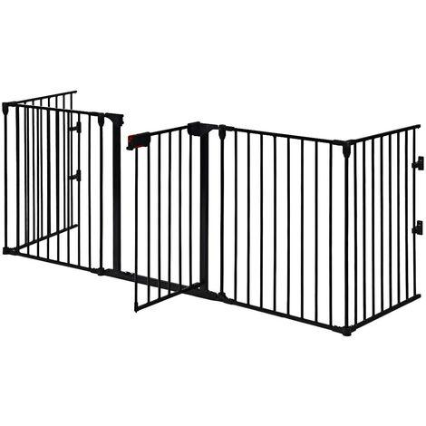 """main image of """"Barrera de Seguridad para Niños Perro Rejilla de Protección Plegable para Chimenea Escalera Puerta (Negro)"""""""