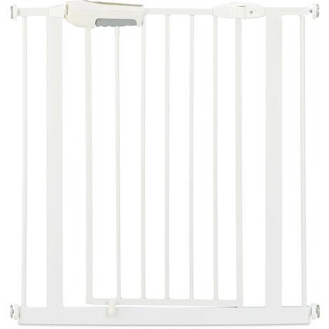 Barrera de seguridad para niños, Puerta de seguridad para escalera, Sin taladro, 80-85 cm, Extensible, Blanco