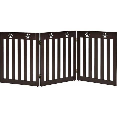 Barrera de Seguridad Plegable para Perros Mascotas Valla Protección para Habitación Puerta Escalera (Marrón, 3 paneles)