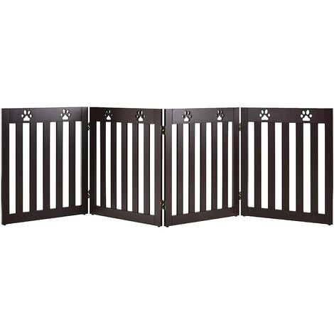 Barrera de Seguridad Plegable para Perros Mascotas Valla Protección para Habitación Puerta Escalera (Marrón, 4 paneles)