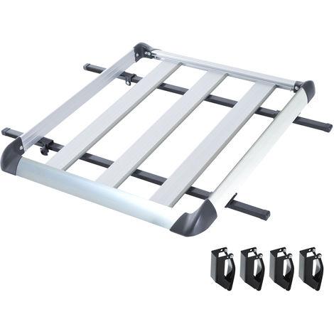 Barres de toit de voiture - gallerie de toit - porte-bagage de toit dim. 110L x 90l x 8H cm - alu. ABS gris noir