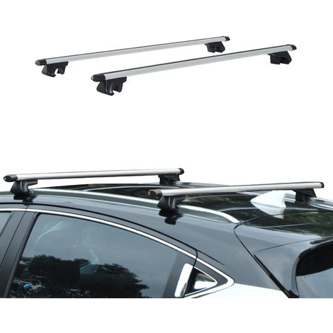 Barres de toit de voiture verrouillables 2 clés fournies dim. 125L x 5,5l x 7H cm aluminium gris noir