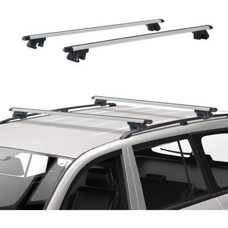 Barres de toit de voiture verrouillables 2 clés fournies dim. 135L x 5,5l x 7H cm aluminium gris noir