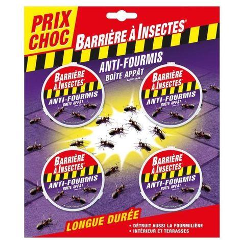 BARRIERE A INSECTES Blister de 4 boîtes appâts anti-fourmis