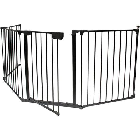 Barrière Ajustable pour Cheminée, Barrière de Sécurité, 300 x 75 cm déplié, Dimensions du produit replié: 80 x 68 x 14 cm