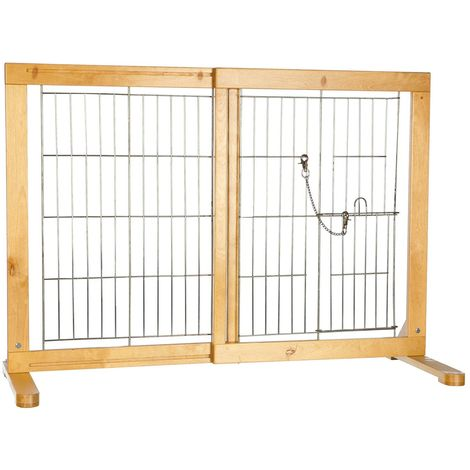 Barrière bois pour chiens réglable de 61-103 × 75 cm
