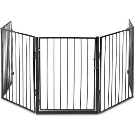 Barrière de cheminée, 5 éléments, HxL 76 x 60 cm chaque, avec porte, sécurité enfants, grille, acier, noir