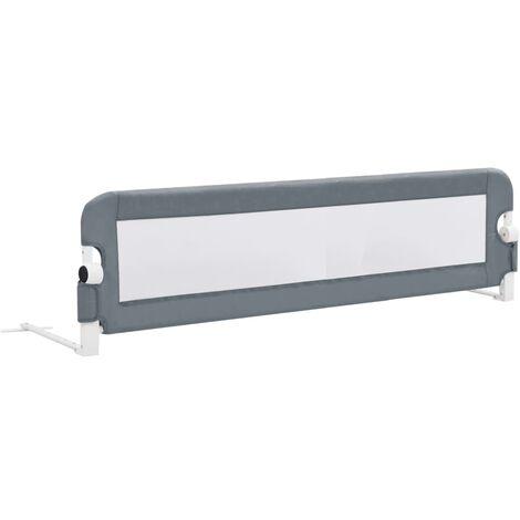 Barrière de de sécurité de lit enfant Gris 150x42 cm Polyester