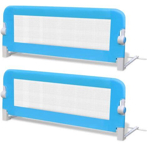 Barrière de lit de sécurité pour tout-petits 2pcs Bleu 102x42cm