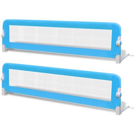 Barrière de lit de sécurité pour tout-petits 2pcs Bleu 150x42cm