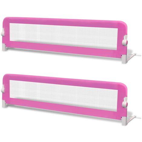 Barrière de lit de sécurité pour tout-petits 2pcs Rose 150x42cm