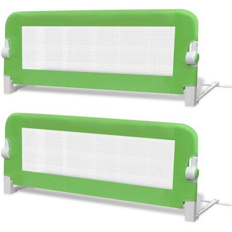 Barrière de lit de sécurité pour tout-petits 2pcs Vert 102x42cm