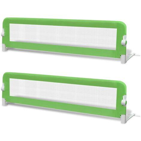 Barrière de lit de sécurité pour tout-petits 2pcs Vert 150x42cm