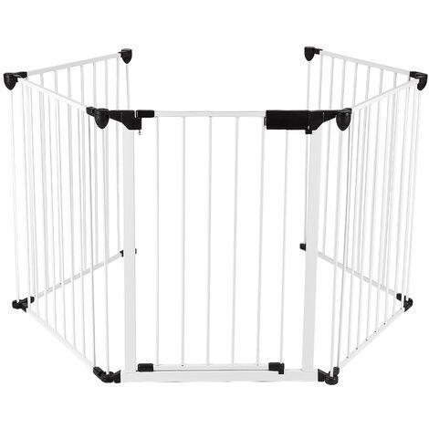 Barrière de Sécurité 310 cm Grille Protection pour Animaux Cheminée Escalier Blanc - Blanc