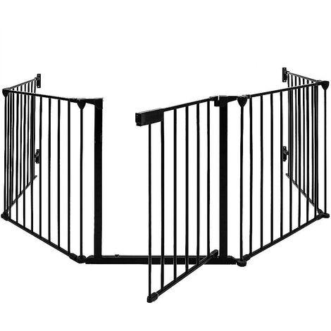 Barrière de Sécurité 310 cm Grille Protection pour Animaux Cheminée Escalier Noir - Noir