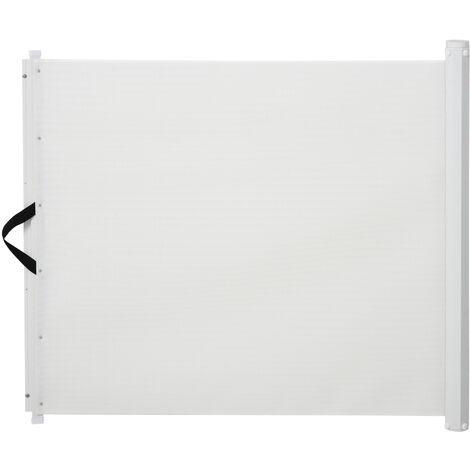 Barrière de sécurité barrière animaux rétractable automatique 1,15L x 0,83H m teslin métal blanc - Blanc