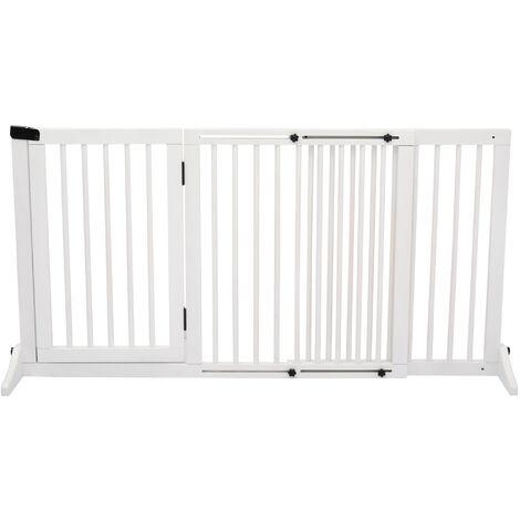 Barrière de sécurité chien barrière autoportante longueur réglable porte verrouillable intégrée dim. 113-166L x 36l x 71H cm sapin blanc