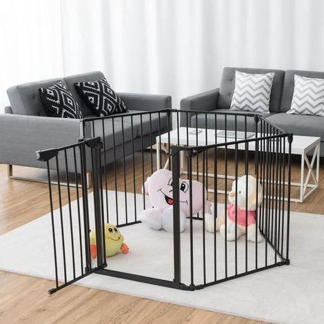 Barrière de Sécurité Enfant Bébé Grille de Protection pour Cheminée Escaliers et Parc 8 Pans Noir