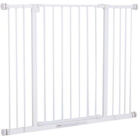 Barrière de sécurité longueur réglable dim. 72-107l x 76H cm sans perçage métal plastique blanc