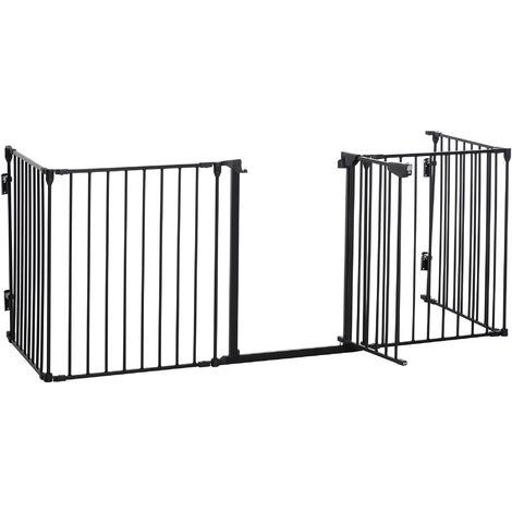 """main image of """"Barrière de sécurité parc enclos chien modulable pliable porte verrouillable intégrée 300L max. x 76H cm métal PP noir"""""""